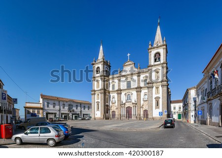 Panorama of the Portalegre Cathedral, or Se de Portalegre, Portugal. Mannerist and Baroque styles. - stock photo
