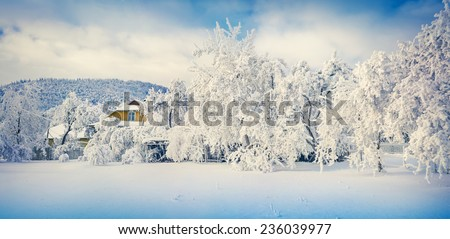 Panorama of the sunny winter landscape in mountain village - stock photo