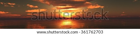 panorama of the sunset over the sea, the sea rising, the light over the sea, the sun among the clouds. - stock photo