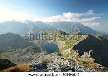 Panorama of the Tatra Mountains, Carpathians in Europe. - stock photo