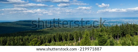 Panorama of the Taunus Hillscape as seen from the Altkoenig, Hessen, Germany - stock photo