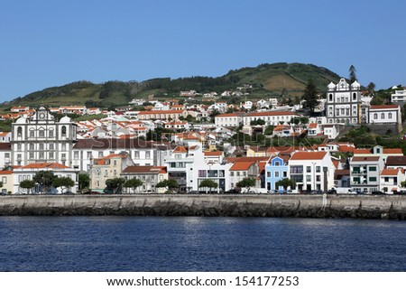Panorama of the town of Horta on the island of Faial Azores Portugal - stock photo