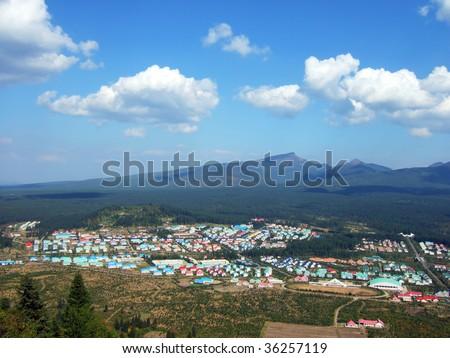 panorama of the village of Paktusan mountain in the North Korea - stock photo