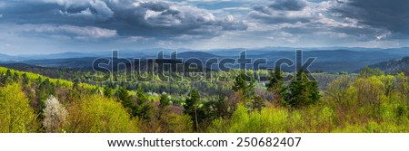 Panorama of Top of Bieszczady Mountains National Park in Poland - stock photo