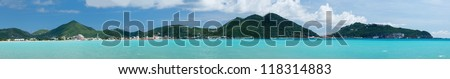 Panorama of town of Philipsburg in Sint Maarten or Saint St. Martin in Caribbean - stock photo