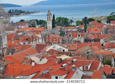 Panorama of Trogir - stock photo