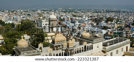 Panorama of Udaipur city, view from city palace ,Rajasthan,India - stock photo