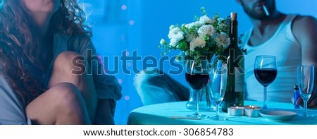 Panorama of unhappy couple of lovers having crisis - stock photo