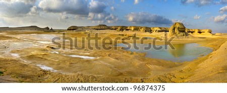 Panorama of  valley  after raining, Oman - stock photo