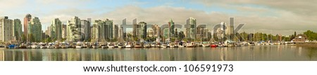 Panorama of Vancouver skyline from Stanley Park - stock photo