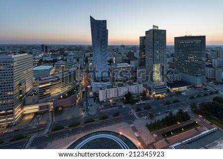 Panorama of Warsaw city center during sundown, Poland - stock photo