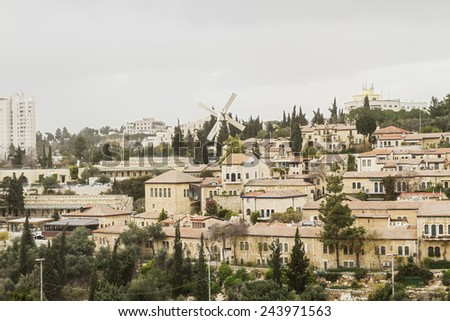 Panorama of West Jerusalem  Yemin Moshe neighborhood , Israel. - stock photo