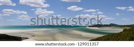panorama of Whitehaven Beach, Queensland/Australia - stock photo