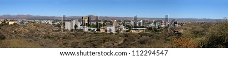 Panorama of Windhoek in Namibia made from four photos - stock photo
