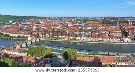 Panorama of Wurzburg, view from Marienberg Fortress, Germany - stock photo
