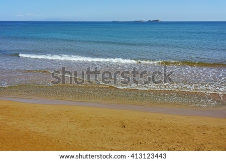 Panorama of Xi Beach,beach with red sand in Kefalonia, Ionian islands, Greece - stock photo
