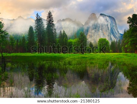 Panorama of Yosemite's Cathedral Rocks at sunset. - stock photo