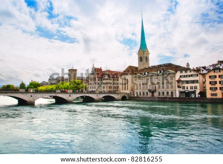 panorama of  Zurich - stock photo