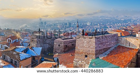 Panorama oh Hisar Castle Hill with the old stone towers, connected by the huge wall, Ankara, Turkey. - stock photo