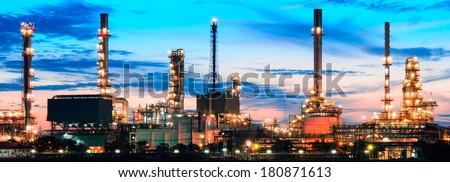 Panorama Oil refinery  at twilight Bangkok Thailand - stock photo