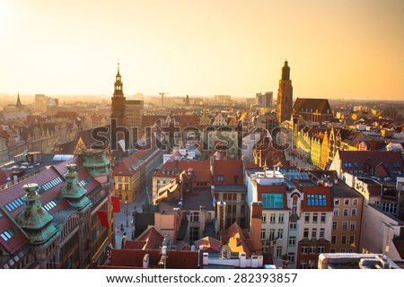 Panorama old town part of Wroclaw at sunset. Popular outsourcing servcie city. High dynamic range. - stock photo