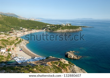 panorama on Jala Bay in the southern of albanian ionic coast - stock photo