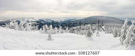 Panorama on the Snieznik Mountain slope, Poland - stock photo