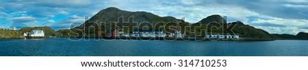 Panorama os island Skrova of Norwegian Lofoten - stock photo