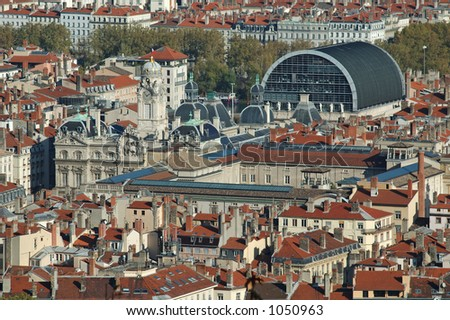 Panorama over Lyon : the opera and the Town Hall (France) - stock photo