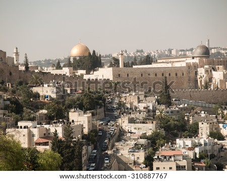Panorama overlooking the Old City of Jerusalem, Israel, including the Dome of the Rock and the Western Wall. Taken from the Mount of Olives. - stock photo