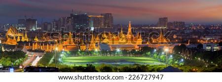 Panorama Palace of Thailand at twilight in Bangkok, Bird eye view. - stock photo