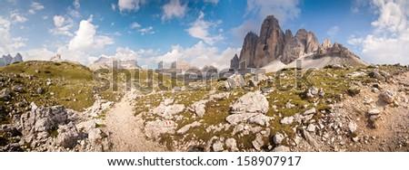 Panorama - Photo of Tre Cime - Dolomite - Italy - stock photo