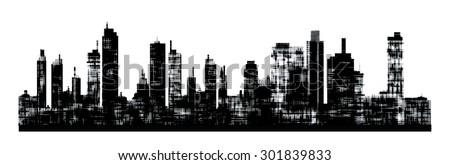 Panorama picture of city skyline - stock photo