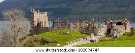 Panorama Ruins of Urquhart Castle near Loch Ness Inverness Highlands Scotland UK - stock photo