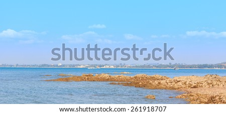 Panorama Sattahip coast on Pattaya City background - stock photo