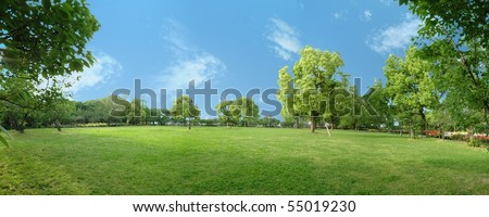 Panorama scenery of park of CG synthesis - stock photo