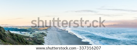 panorama scenic view of Oregon coast in the morning. - stock photo