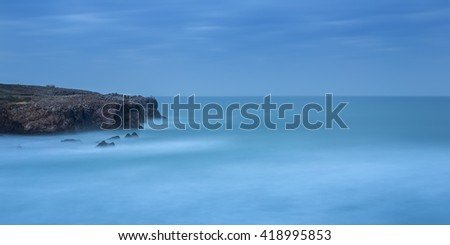 Panorama sea dramatic landscape in a long exposure. - stock photo