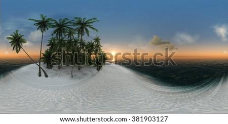 panorama 360, sea, tropical island, palm trees, sun - stock photo