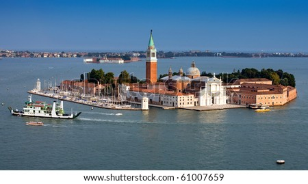 Panorama sea view of venice italy - stock photo