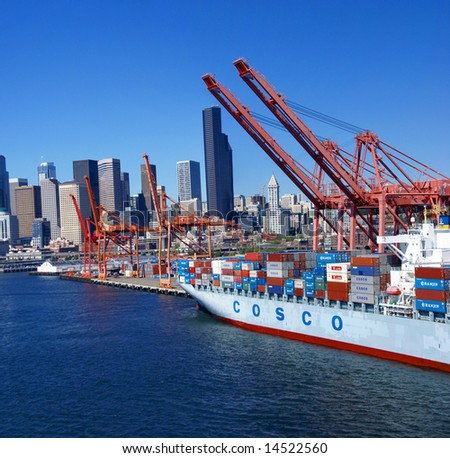 Panorama - Seattle waterfront skyline,with ferry and dockyard cranes,		Puget Sound, 	Pacific Northwest - stock photo