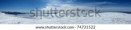 panorama snowy mountains in the pyrenees, Spain. Vall de la Vansa, sierra del Cadi - stock photo