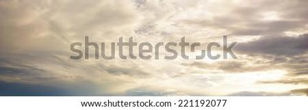 panorama sunset cloudy sky - stock photo