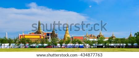 Panorama,Temple of the Emerald Buddha or Wat Phra Kaew in Bangkok, Thailand. - stock photo