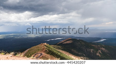 Panorama View from the Pikes Peak in Colorado - stock photo