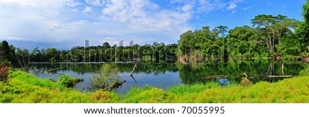 Panorama view of a beautiful quarry lake in Singapore - stock photo
