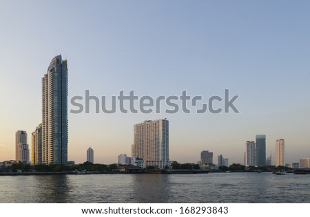 Panorama view of Bangkok city scape at night time - stock photo