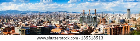 Panorama view of Barcelona city from Montjuic  in cloudy day. Catalonia,  Spain - stock photo