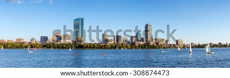 Panorama view of Boston Skyline in summer afternoon - stock photo