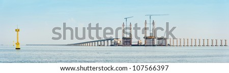 Panorama view of bridge under construction in Penang, Malaysia - stock photo